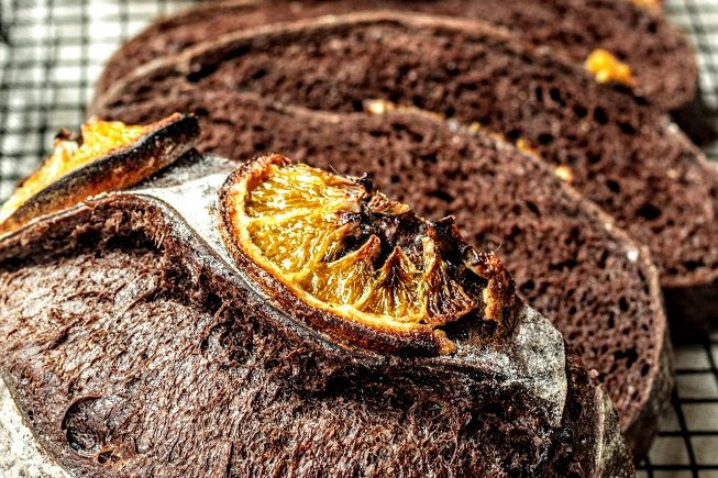 cocoa orange sourdough