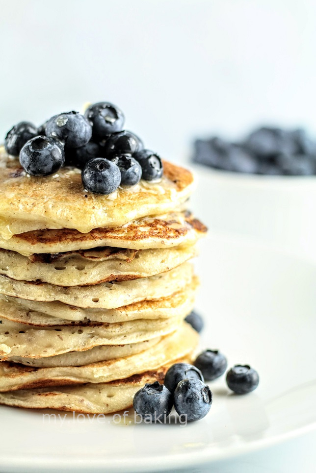 sourdough blueberry coconut pancakes