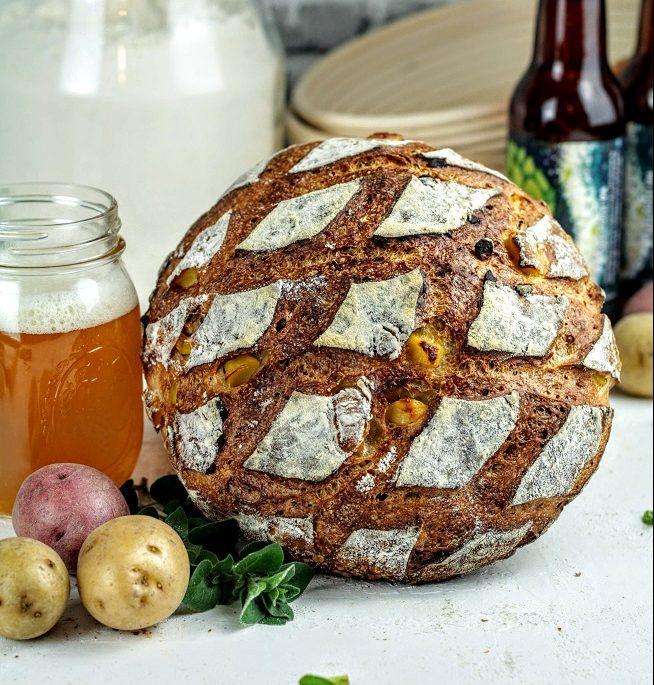 Ale and potato sourdough bread