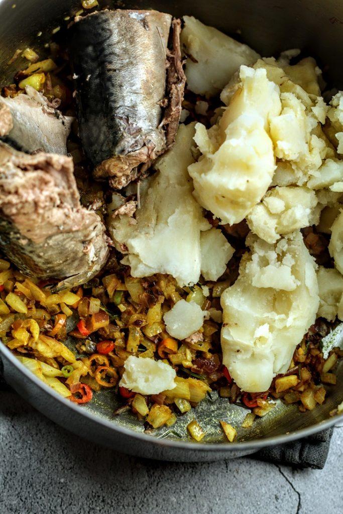 add potato and fish