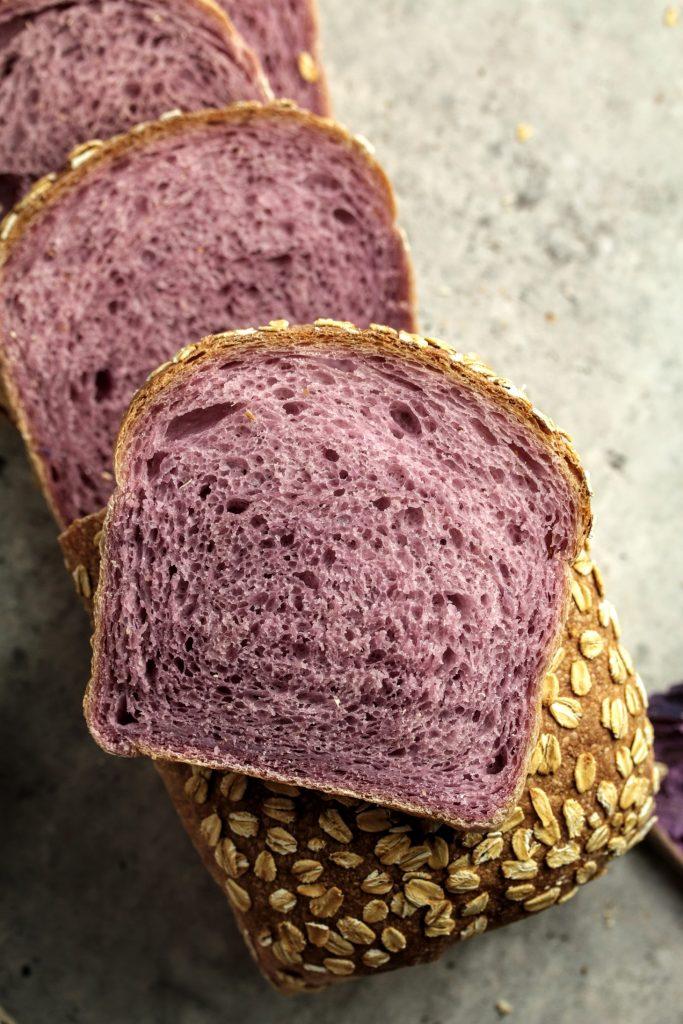 purple sweet potato sourdough loaf