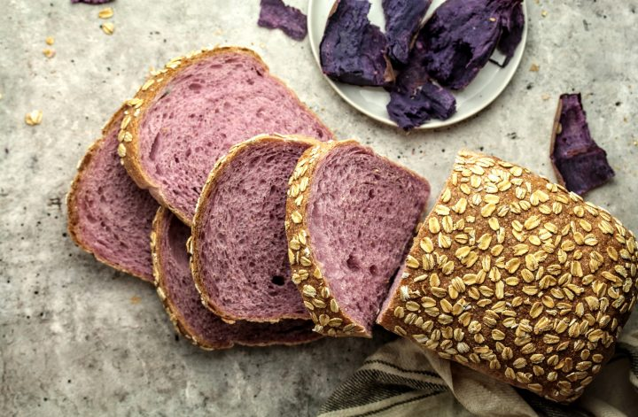 purple sweet potato sourdough loaf